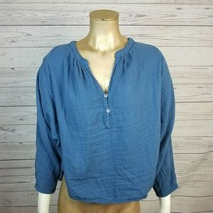 Free People x CP Shades Blue Doublecoth Top